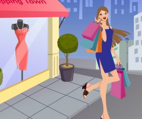 Fashion girl shopping vector illustration