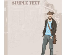 Fashion man with vintage background vector 01