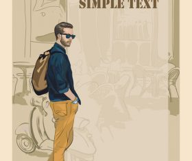 Fashion man with vintage background vector 02