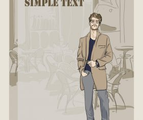 Fashion man with vintage background vector 03