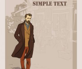 Fashion man with vintage background vector 04