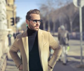 Fashion youth wearing camel coat Stock Photo 02