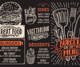 Fast food menu with blackboard background vector 01