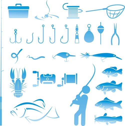 Fishing tool Icons 1 vector