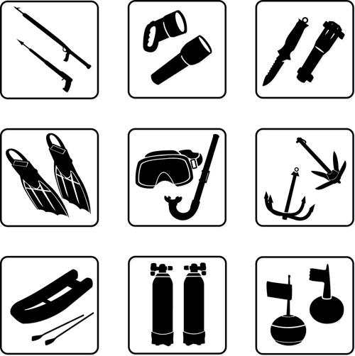Fishing tool Icons 2 vectors