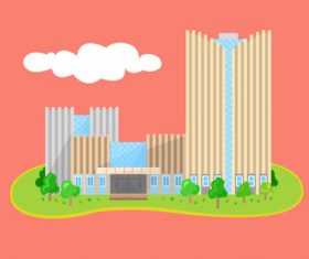 Flat high rise building vector