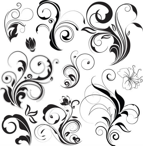Floral Swirl Ornaments Elements 2 Vector Free Download