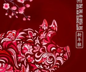 Floral pig with chinese 2019 new year vector 01