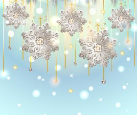 Floral snowflake with diamond christmas baubles vector