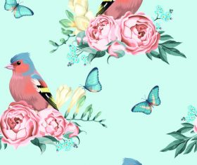 Flower and bird butterfly material vector background illustration