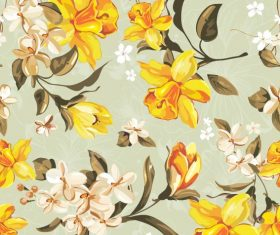 Flowers illustration cloth pattern background vector 01