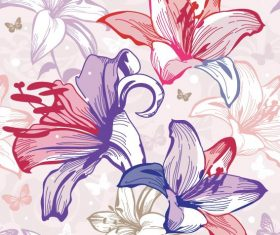 Flowers illustration cloth pattern background vector 02