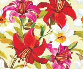 Flowers illustration cloth pattern background vector 03