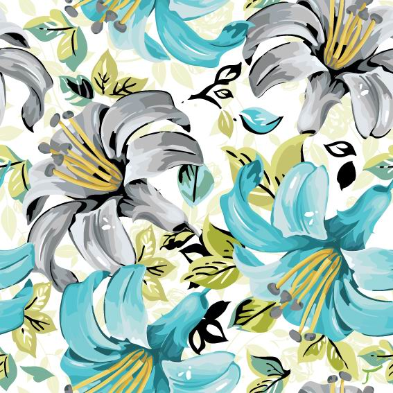 Flowers illustration cloth pattern background vector 05