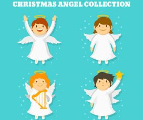 Four white christmas angels vector