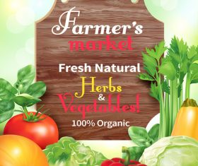 Fresh natural vegetable with wooden sign vector