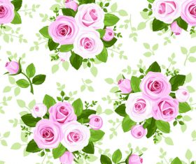Fresh rose pattern seamless vectors 01