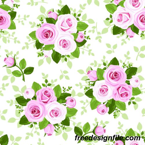 Fresh rose pattern seamless vectors 01