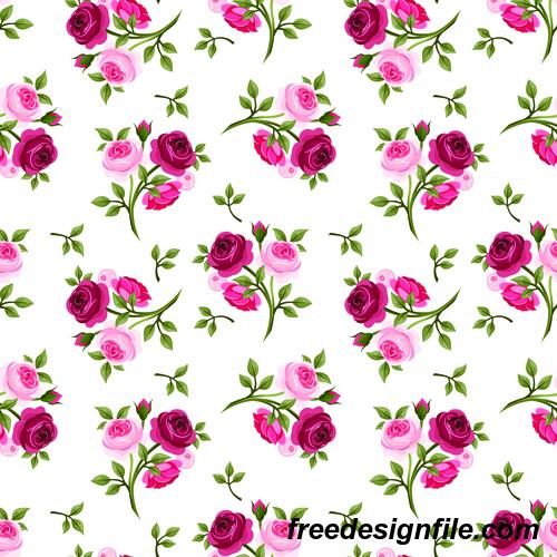 Fresh rose pattern seamless vectors 04