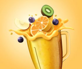 Fruit juice splash vector illustration