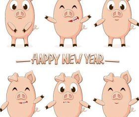 Funny cartoon pig vectors 01