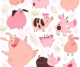 Funny cartoon pig vectors 02