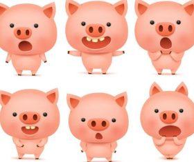 Funny cartoon pig vectors 03