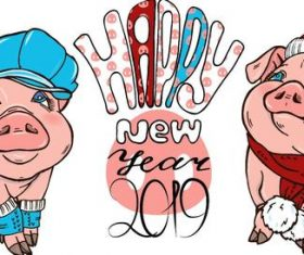 Funny pig with 2019 new year design vectors