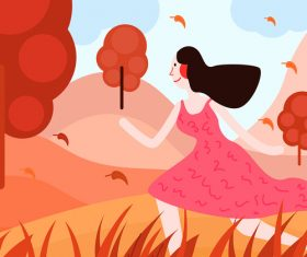 Girl running in the wild vector illustration