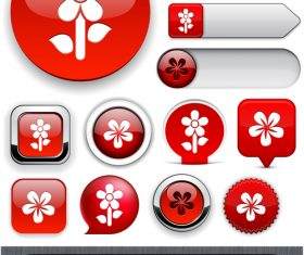 Glass texture web buttons design vectors set 06