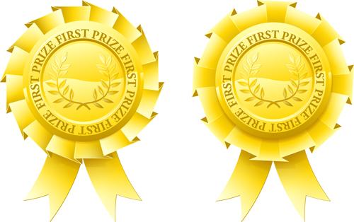 Gold Award Badges set 1 vector