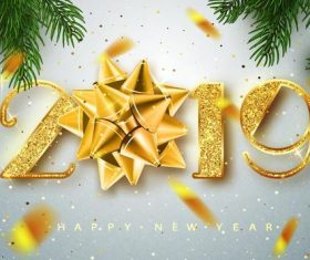 Golden 2019 new year text with new year background vector
