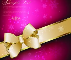 Golden bows with snow background vector graphic
