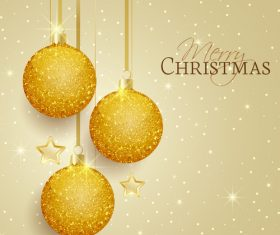 Golden christmas ball with stars vector greeting card