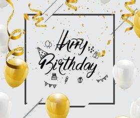 Golden confetti with birthday white background vector
