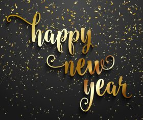 Golden confetti with new year text design vector