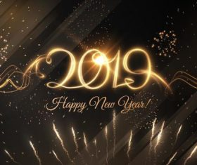 Golden firework with 2019 new year design vectors