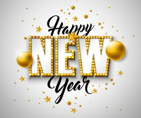 Golden neon with new year background vector material 01