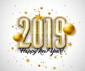 Golden neon with new year background vector material 02