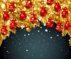 Golden pine needles with red christmas ball and dark background vector