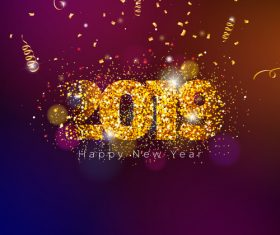 Golden ribbon with purple 2019 new year background vector