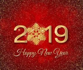 Golden snowflake with 2019 new year red background vector