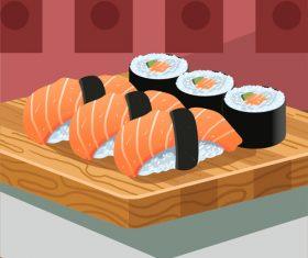 Gourmet delicious japanese sushi cuisine vector illustration