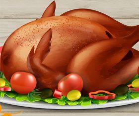 Gourmet delicious roast chicken vector illustration