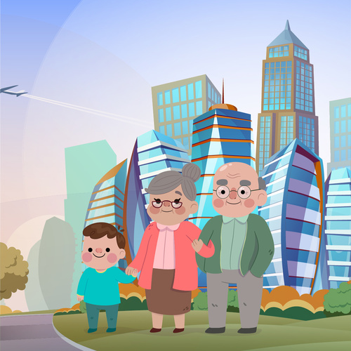 Grandparents walking in the park vector illustration