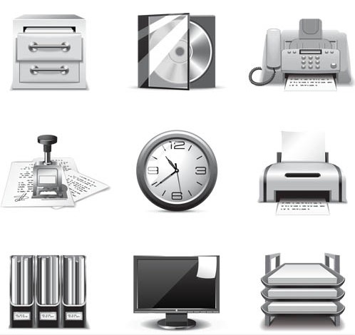 Gray Office Icons art vectors graphic
