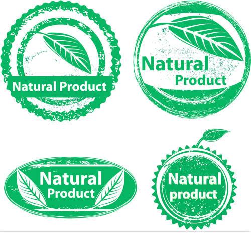 Green Natural Product Emblems vector