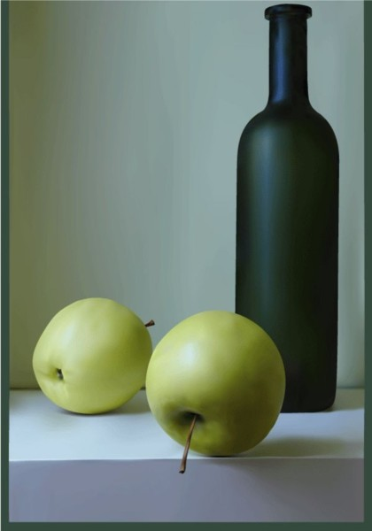 Green apple and wine set vector