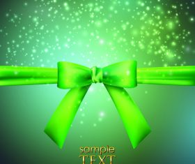 Green bows with ribbon vector illustration 01