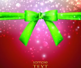 Green bows with ribbon vector illustration 03